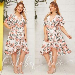 October Love Floral Wrap Dress - Plus Size